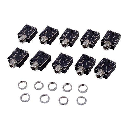 Zeafree 10 unids 3.5mm auriculares estéreo zócalo de audio con tuerca 5 Pin PCB Panel Mount