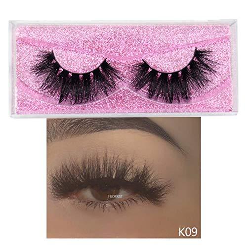 SELLA Mink Lashes 3D Mink Eyelashes 100% Cruelty free Lashes Handmade Reusable Natural Eyelashes Popular False Lashes Makeup,visofree K09