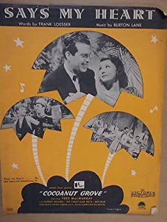 song sheet SAYS MY HEART Cocoanut Grove 1938