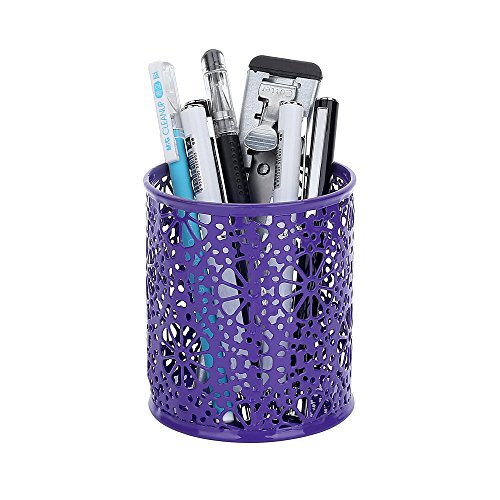 Metal Carved Hollow Pen Holder, Purple