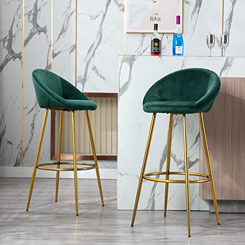 chairus Tufted Kitchen Bar Height Stools Chairs, Upholstered Velvet Dining High Barstools with Back & Brass Gold Metal Legs, Seat Height 30 inches, Set of 2, Dark Green