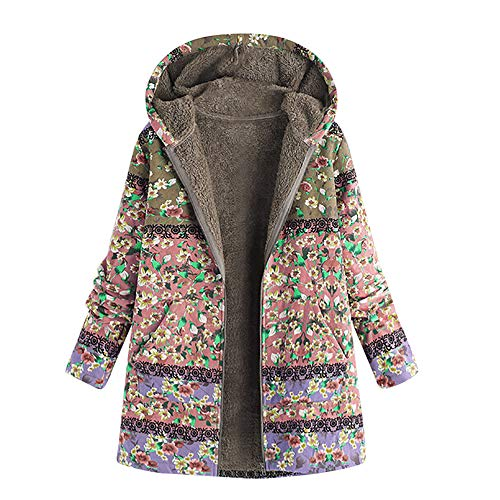 Hanomes Damen Mantel,Damen Oversize Mode Drucken Reißverschluss mit Kapuze Mantel Vintage Damen Fleece Dicke Mäntel Cozy KaschmirPullover