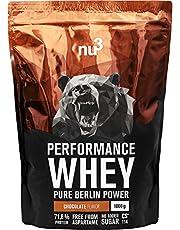 nu3 Performance Whey Protein - Chocolade Flavor 1 kg eiwitpoeder - eiwitpoeder met goede oplosbaarheid - 21,5 g eiwit per shake - plus Whey Isolate & BCAA - Chocolade Mix - geschikt voor de opbouw van spieren