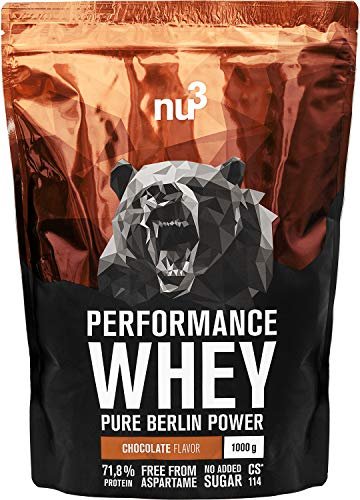 nu3 Performance Whey Protein - Chocolate Blend 1 kg Proteinpulver - Eiweißpulver mit guter Löslichkeit - 22,5 g Eiweiß je Shake - plus Whey Isolate & BCAA - Schoko Geschmack - gut für Muskelaufbau