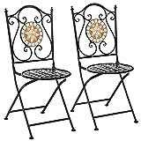 GOPLUS Sedie da bistrot a mosaico, set 2 sedie da esterno con mosaico pieghevoli in ceramica, sedie a mosaico in ferro per giardino balcone patio bar, 54 x 40 x 94,5 cm, Nero