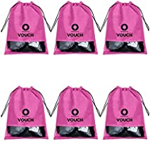 Vouch 6 Piece Non Woven Travel Shoe Cover, String Bag Organizer, Pink
