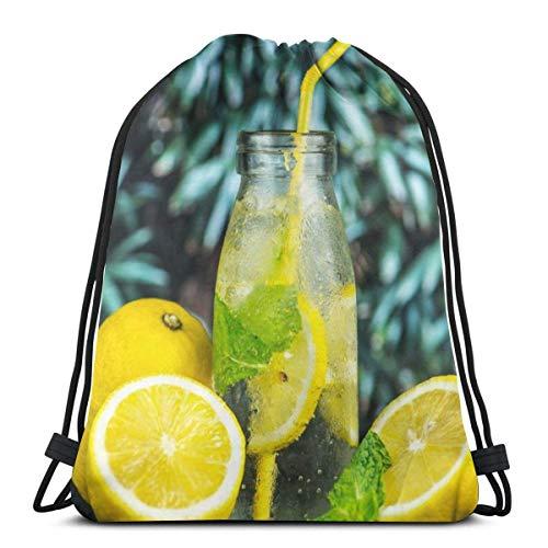 NA Citroensap In Glazen Fles Gepersonaliseerde Klassieke Draagbare Trekkoord Backpack,14.2