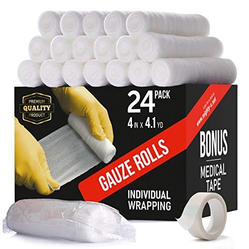 Premium Gauze Bandage Roll - 24 Pack - Gauze Roll (4 inches x 4.1 Yards) - Latex Free Rolled Gauze - Gauze Wrap + Bonus Medical Tape