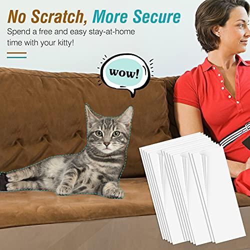 VavoPaw Protezione Graffi Gatto [12 Pezzi], Protezioni per Mobili per Divani Nastro Adesivo Antigraffi per Gatti e Cani Autoadesive Trasparente PVC con Viti AntiGraffio Protector per Divano - Bianco