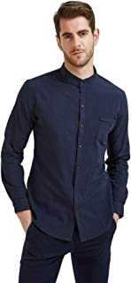Plaid&Plain Men's Long Sleeve Mandarin Collar Shirts Men's Slim Fit Linen Shirt