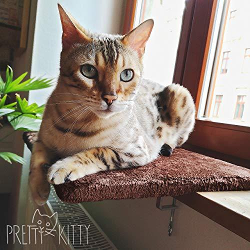 PRETTY KITTY Katzen Fensterbett: Kuschelige Katzen Fensterliege für die Fensterbank, Premium Katzenbett flauschig fürs Fenster, Fensterbrett Katze – waschbar, 34x44cm, Fensterbankliege Katze