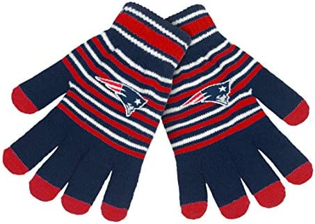 FOCO NFL Team Unisex Acrylic Stripe Knit Stretch Gloves with Texting Tips New England Patriots product image