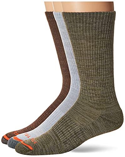 Merrell mens Cushioned Hiker Quarter 3 Pair Casual Sock, Dark Brown, Dark Grey/Light Grey, Olive Green, Medium-Large US