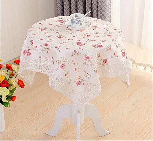Ustide, stile europeo-Tovaglia in tessuto Jacquard con motivo floreale bordi tovaglie da tavola, solubile in acqua, da tavolo, Poliestere, Multicolore, Square 31.5'x31.5'(80x80cm)