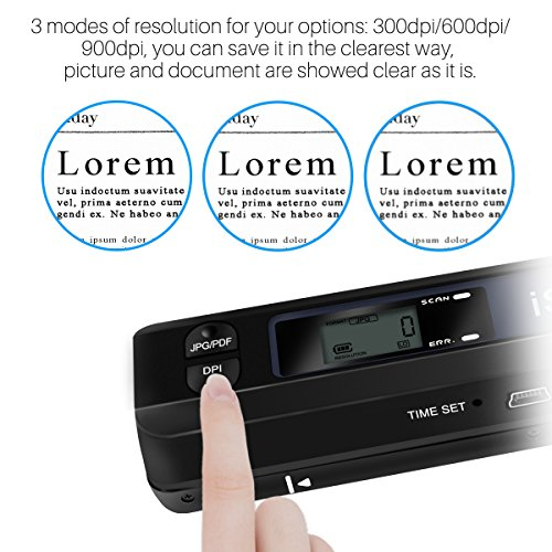 AOZBZ Portable Document Scanner Dokumentenscanner, 900DPI Mobile USB Handscanner A4 Farb Photo Scanner Handy Scan (JPG/PDF-Format, Hochgeschwindigkeits-USB 2,0,Brauchen Micro SD/TF Card aber Nicht Inbegriffen) - 8