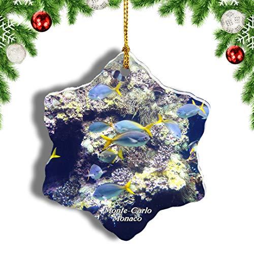 Weekino Monaco Museum Aquarium Monte Carlo Weihnachten Anhänger Baum Weihnachtsdeko Baumschmuck zum Hängen Reiseandenken