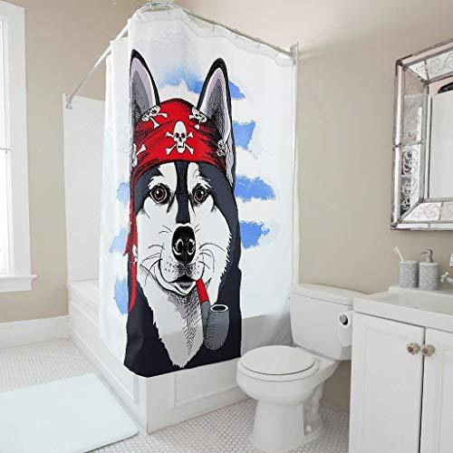 Gamoii Lustiges Tier Piraten H& Duschvorhang Bad Gardinen Personalisiert Schlafsaal Gardinen Stoff Shower Curtains mit Ringe White 120x200cm
