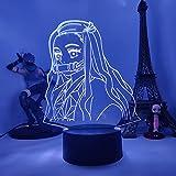 Lámpara de Ilusión 3D 16 Colores Luz de Noche Led Luz Nocturna de Anime Japonés Creativo Led Lámpara de Escritorio para Niños con Mando a Distancia Decoración de Dormitorio (Kamado Nezuko)