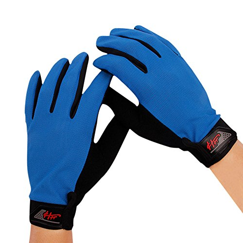 Women Men Full Finger Touch Screen Cycling Gloves Mesh Quick Dry Non-slip Motorcycle Road Mountain Bike Riding Gloves UV Protection Fitness Climbing Fishing Workout Exercise Golf Gloves (Blue)
