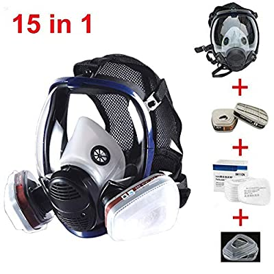 JZWDMD 15in1 Full Face Respirator Gas Mask Widely Used in Organic Gas,Paint Sprayer, Chemical,Woodworking,Dust Protector from