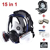 JZWDMD 15in1 Full Face Respirator Gas Mask Widely Used in Organic Gas,Paint Sprayer, Chemical,Woodworking,Dust...