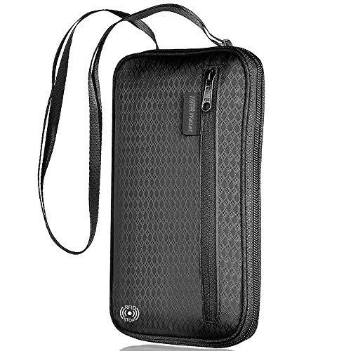 【LATEST】RFID Family Passport Holder, Large Capacity Neck Travel Wallet Passport Holder for Women/Men with Multiple Zipper Water Resistant Fabric, Holds 4+ Passports (Black)