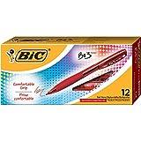 BIC BU3 Grip Retractable Ball Pen, Medium Point (1.0mm), Red, 12-Count