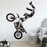 SLQUIET Creativo Motocicleta Vinilo Etiqueta de la pared Decoración para niños Habitación Decoración Habitación del niño Calcomanías de pared Pegatinas Mural marrón 43x51cm