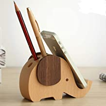 NEOYARDE Pen Pencil Holder with Phone Stand, Wooden Elephant Shaped Pen Container Cell Phone Stand Desk Organizer Decoration Accessories