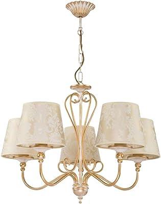 Deckenlampe Kronleuchter Lüster Schirm Golden Beige Muster SOFIA 1592