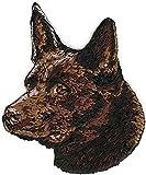 2'' 2 1/2'' Chocolate Brown Australian Kelpie Portrait Dog Breed Embroidery Patch