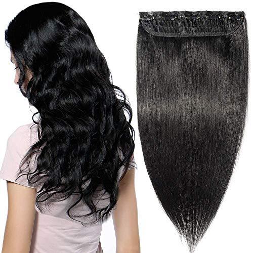 Clip In Extensions Echthaar ein Stück 5 Clips Dünn Tressen 100% Remy Echthaar Haarverlängerung (45cm-50g #1 Tiefschwarz)