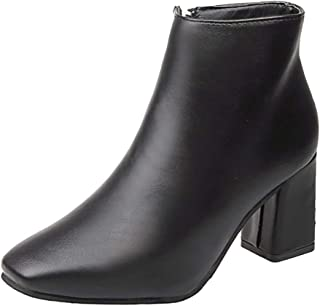 Aunimeifly Women's Solid Color Square Toe Ankle Boots Ladies Zipper Booties Thick High Heel Shoes