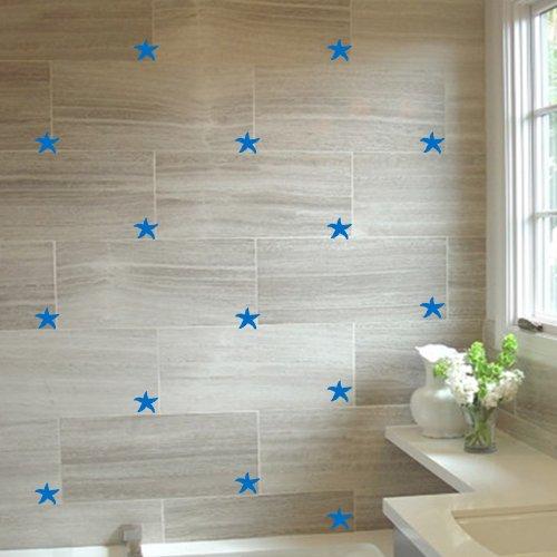 ThatVinylPlace, adesivi per pareti, a forma di stella marina, 22 pezzi, 5cm di larghezza, 18colori assortiti, per piastrelle, bagno, doccia Medium Blue