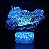 Motocicleta imaginativa base de grietas lámpara de mesa pequeña creativa decoración creativa lámpara de mesa pequeña luz LED acrílico luz nocturna multicolor luz de visión 3D