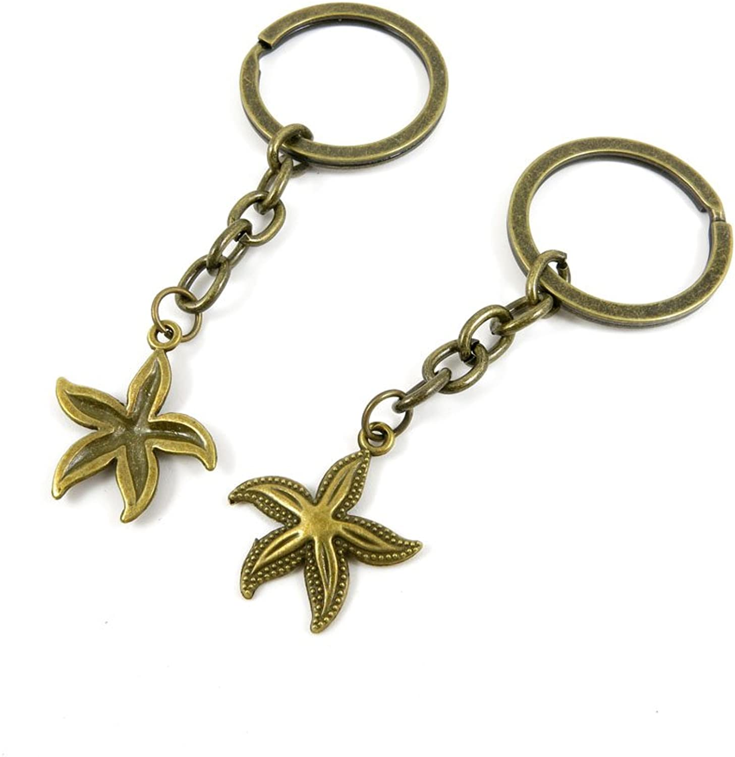 250 Pieces Fashion Jewelry Keyring Keychain Door Car Key Tag Ring Chain Supplier Supply Wholesale Bulk Lots I3FV6 Starfish Sea Star