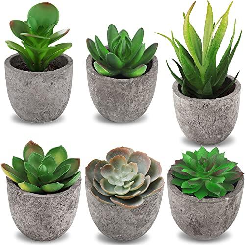Frasheng 6 Pezzi di Piante Artificiali Succulente in Vaso,Piante Artificiali in Vaso,Piante Finte,Mini piante grasse finte,Piante Succulente Artificiali,per la decorazione dell'ufficio domestico,Verde