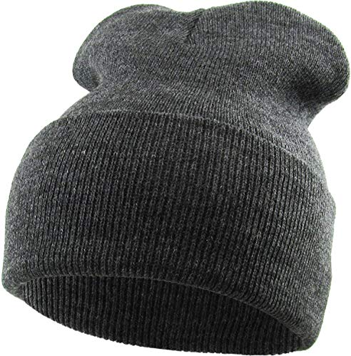 Thick and Warm Mens Daily Cuffed Beanie OR Slouchy Made in USA for USA Knit HAT Cap Womens Kids (One Size, 1.04) Made in USA Charcoal