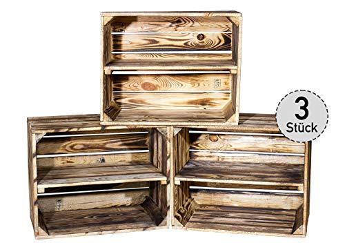 3er Set kleine geflammte Kiste für Schuhregal und Bücherregal - Obstkiste flambiert mit Mittelbrett längs - Holzkiste aus dem Alten Land - massiv stabil - Kistenregal Obstkistenregal 50x40x30cm
