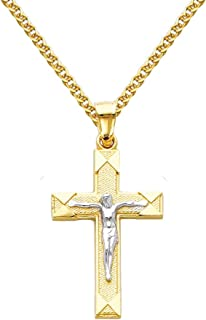 14k Two Tone Gold Jesus Cross Religious Pendant with 1.5mm Flat Open Wheat Chain Necklace