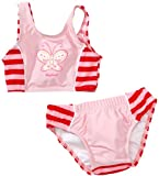 Playshoes Mädchen, gestreift UV-Schutz Bikini Schmetterling 460047, Gr. 74/82, Rosa (788 rot/rosa)