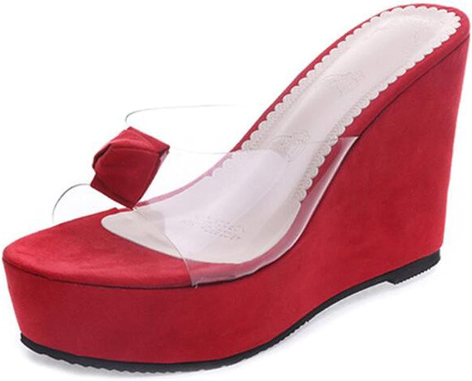Ladies Transparent Wedge Heels Slippers Women's Simple Glass Crystal Sandals (Black Pink Red) ( color   Red , Size   39 )