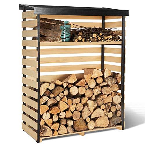 IDMarket - Abri de Stockage en Bois pour bûches Toit incliné et étagère
