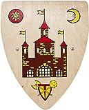 Woudi I Stabiles Kinder Ritter Schild mit verschiedenen Motiven 37,5/30cm Birkenholz Natur I Unbedenkliche Farben I Zwei genietete Halteriemen I Made in EU (Ritterburg)