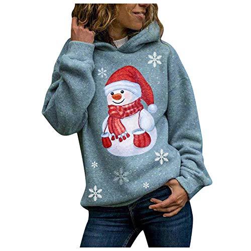 DAIDAIWLH Mujeres Impresión De Navidad Pullovers Mujeres Sudadera Manga Larga Oficina Camisetas Sueltas Sudaderas Casuales