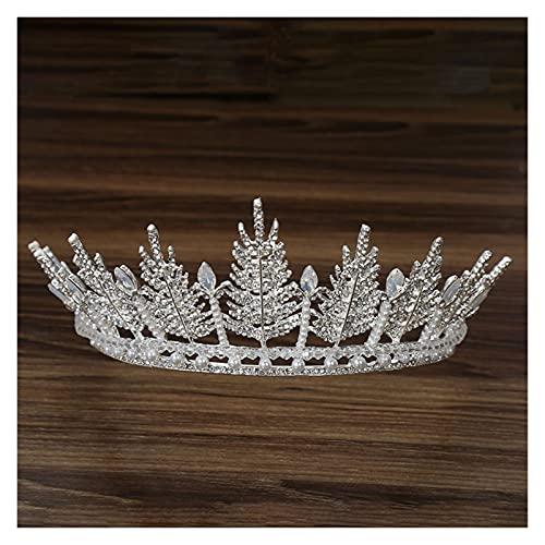 XKMY Corona de perlas corona de novia con hojas doradas hechas a mano Tiara barroca perla grande corona vestido de novia adorno de pelo corona de perlas (color metálico: plata)
