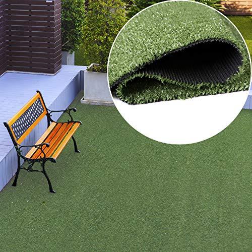 TAPISO Rasenteppich Kunstrasen Grün Balkon Terrasse Garten Outdoor Indoor Meterware Kunststoffrasen Teppich Echtrasenoptik Wetterfest 300 x 700 cm