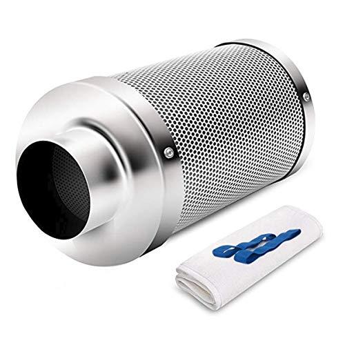 Hon&Guan Filtro de Carbón Activado 150mm - 500m³/h Filtro de Ventilador para Aspirador de Aire, Carpas Hidropónicas, Tienda de Cultivo Growbox(Filtro de Carbono 150mm - Plateado)