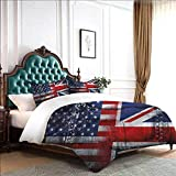 dsdsgog Bed Sheets Set Union Jack,Alliance UK and USA 80x90 inch Sleepovers with Blanket and Pillow Slumber Bag