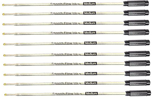10 Pack - Smooth Flow Ink Ballpoint Pen Refills Compatible With Cross & Vera Bradley Ballpoint Pens - Medium Point - (BULK PACKED) (Black)